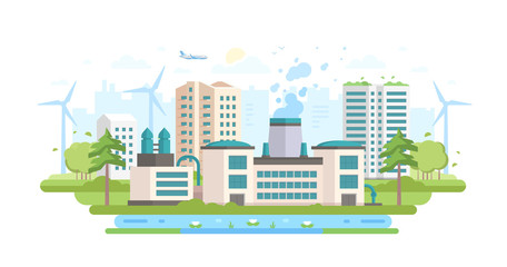 Eco-friendly industry - modern flat design style vector illustration