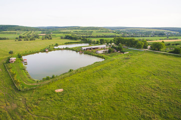 Dron View on Industrial Lake and Building