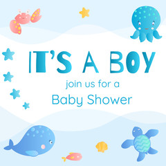 It's a boy. Baby Shower invitation in marine style.