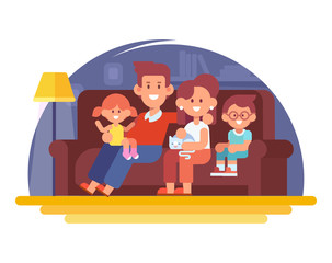 Happy family mom, dad and kids sitting on the couch at home. Vector illustration in a flat style. Simple shapes, easy to edit.