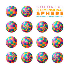 Vector 3d vibrant color checkered sphere rotations and projections set