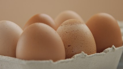 closeup of six brown eggs with different shel texture