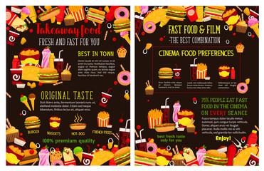 Vector fast food takeaway menu posters