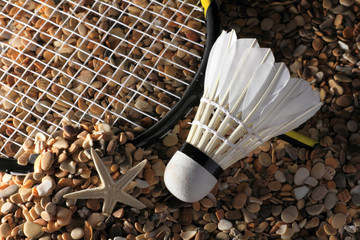 Set Badminton racket and shuttlecock feathers on rocks, beach background.