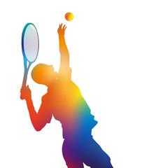 tennis - tennisman - service - silhouette - affiche - fond - sport - arrière plan - raquette - balle - match