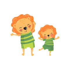 Lovely family portrait of father lion and his little son. Cartoon characters of wild animals with orange manes in sportswear. Fatherhood concept. Flat vector design