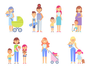 Set of characters in a flat style. Loving Mothers Have a Good Time With Their kids. Vector illustration in a flat style good for animation.