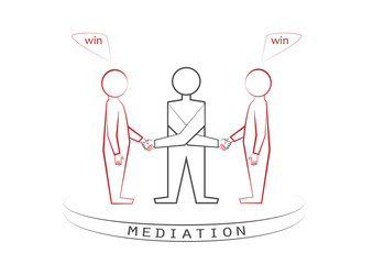 mediator and two persons handshaking isolated on the white background, winner - winner principle, win - win, front view, vector illustration, horizontal