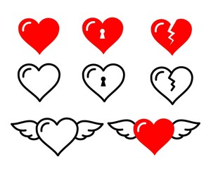 Beautiful cute heart icon set vector