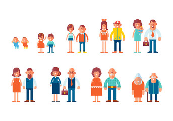 Set of characters in a flat style. Men and women characters, the cycle of life, growing up. From infant to grandparents. Vector characters are good for animation.
