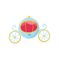 Blue medieval carriage with round-shaped cab and big wheels. Royal transport for princess or Cinderella. Cartoon flat vector design