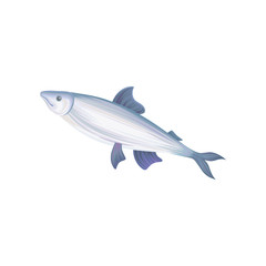 Flat vector icon of tuna fish with blue fins. Seafood concept. Healthy eating. Decorative element for restaurant menu, promotional poster or banner