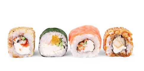 Printed roller blinds Sushi bar Japanese food restaurant, sushi maki gunkan roll plate or platter set. California Sushi rolls with salmon. Sushi isolated at white background.