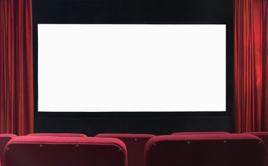 Blank movie cinema screen with red curtains and empty seats