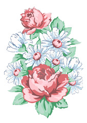 Flowers hand drawn, floral embroidery design, fabric print, vector floral ornament. Hand drawing flower composition from roses and chamomile, buds, petal, stem and leaves isolated on white background
