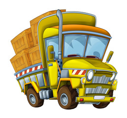 cartoon construction site car with cargo - illustration for children