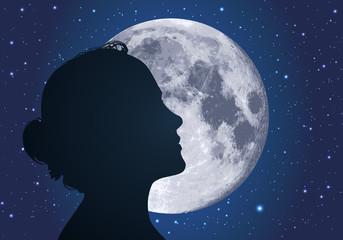 femme - lune - clair de lune - profil - symbole - visage - beauté - silhouette - féminin