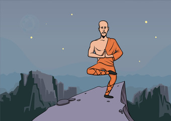 Man in the clothes of a monk, master of martial arts practicing wushu in the mountains. Vector illustration.