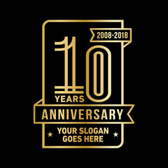 10th anniversary logo. Vector and illustration.