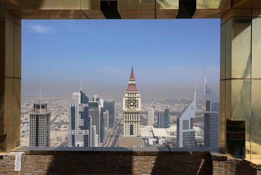 View shows Dubai Skyline from the 71st floor of the Gevora Hotel, the world's tallest hotel, in Dubai