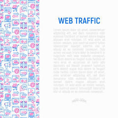 Web traffic concept with thin line icons: SEO technology, data exchange, sync, click, mobile backup, traffic speed, sales growth. Modern vector illustration for banner, print media, web page.