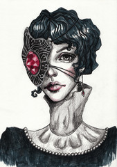Gothic girl with short black hair and a mask on her face. Fashion hand-drawn illustration