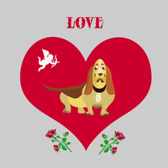 Illustration for valentine's day, Dog taxi cab, inside the heart, cartoon on light gray background,