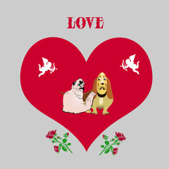 Illustration for valentine's day, Dog and cat (thoroughbred), inside the heart with angels, cartoon on light gray background,