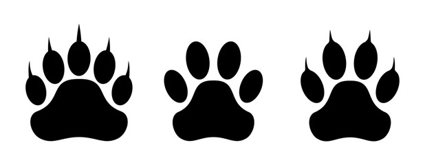 Paw print set. Vector illustration.