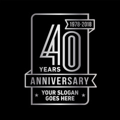 40th anniversary logo. Vector and illustration.