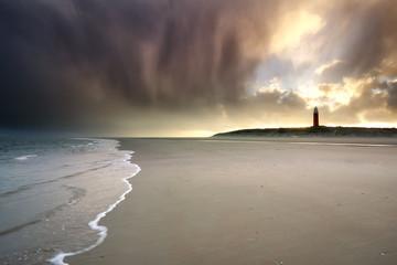 dramatic stormy sunrise on North sea coast Wall mural