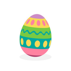 Colorful painted traditional easter egg, vector graphic illustration. 3D easter egg object with shadow, isolated.