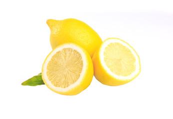 Fresh lemon with leaves isolated on white background. Amazing Benefits Of Lemon for health