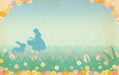 花とシルエットのイースター背景素材