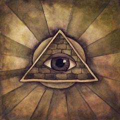 Illuminati symbol, eye in a pyramid