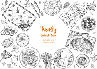 Family dinner top view, vector illustration. Friendly dinner table. Food design template. Engraved style background. Hand drawn sketch, design template.