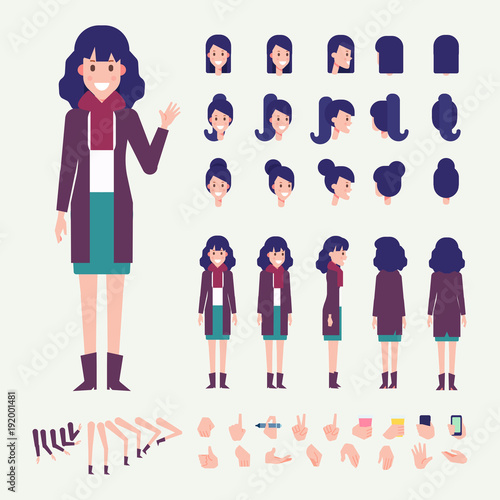 Flat Vector Young Woman character. Character creation set with ...