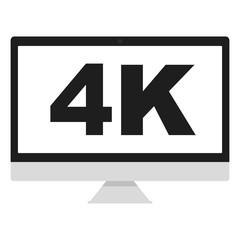 4K monitor computer logo vector icon illustration flat design