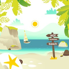 Tropic palm beach banner, card, postcard design with rocks, yacht and wooden sign, summer vacation concept, flat cartoon vector illustration. Beach vacation banner with sea, ocean coast, yacht and sun