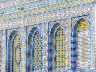 Jerusalem, Israel - details of the Dome of the Rock Mosque on the Temple Mount in Jerusalem, Israel
