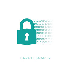 Cryptography concept with lock and binary code. Simple element illustration