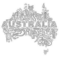 Animals drawings aboriginal australian style in the form of a map of Australia