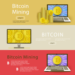 Vector bitcoin mining posters template background set. Illustration on colored background with golden coin in laptop and desktop monitor screen, pile column of coins.
