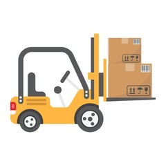 Forklift delivery truck flat icon, logistic and delivery, cargo vehicle sign vector graphics, a colorful solid pattern on a white background, eps 10.