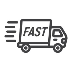 Fast shipping line icon, logistic and delivery truck, carton box sign vector graphics, a linear pattern on a white background, eps 10.