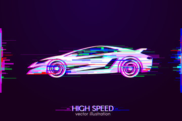 High Speed with Interference. Glitch logo of sport car on dark background. White object with anaglyph color effect. Vector illustration.