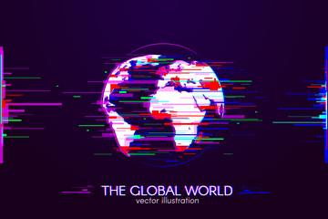 The Global World with Interference. Glitch logo of planet of Earth on dark background. White object with anaglyph color effect. Vector globe illustration.