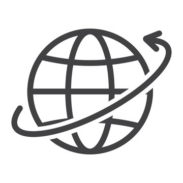 Worldwide shipping line icon, logistic and delivery, around world sign vector graphics, a linear pattern on a white background, eps 10.