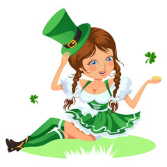 Saint patrick day characters, sexy girl in stockings and cylinder with irish symbol of luck shamrock leaf, woman in short green dress, cartoon lady in costume isolated on white vector illustration.