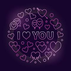 I love you pink vector outline illustration